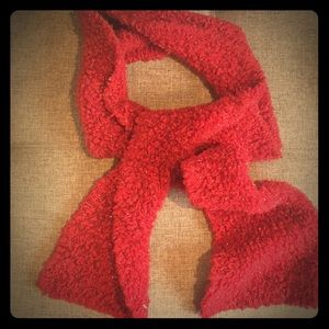 "Red scarf sparkly knit 66"" x 6"""